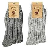 krautwear 2 Paar Weiche Wollsocken mit Alpaka für Damen & Herren Warme Socken Wintersocken bis Größe 50 (dugra+hegra-35-38)