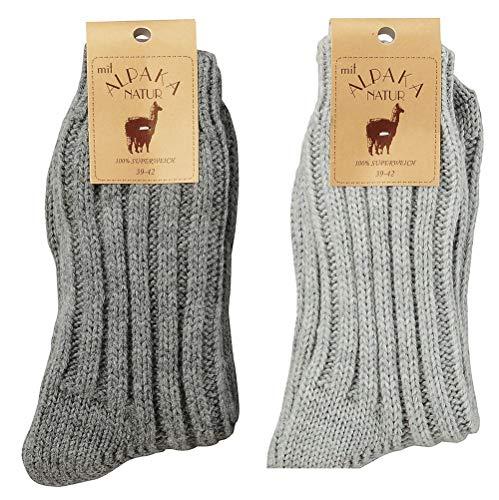 krautwear 2 Paar Weiche Wärmende Wollsocken mit Alpaka für Damen und Herren Wintersocken bis Größe 50, 43-46, Dunkelgrau+hellgrau