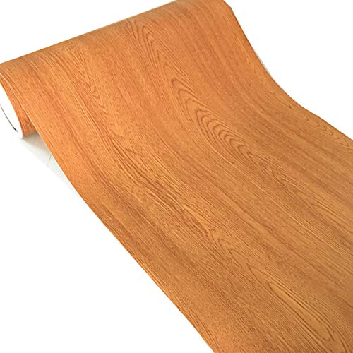 WDragon - Papel decorativo autoadhesivo, diseño de madera de grano de color amarillo, para mostrador, muebles, armarios, estantes de armario, papel pintado, 40 cm x 250 cm