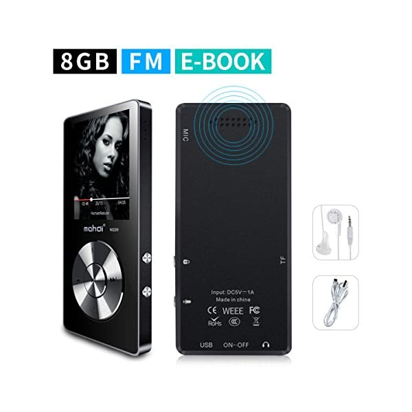 Portable MP3 Player(Expandable Up to 128GB), Music Player/One-Key Voice Recorder/FM Radio 70 Hours Playback with External Speaker HD Headphone, Black 3