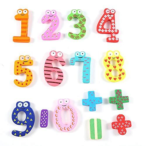 Yosoo Imanes De Nevera Número Letras De Madera De Madera De Imitación De Muebles De Decoración para Niños Juguete Infantil, 15pcs