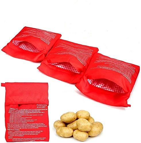 4 PZ Sacchetto per Patate Microonde, Potato Express Bag Lavabili Riutilizzabili Microonde Patate Bag in Microonde Patate Ideale Solo in 4 Minuti(Rosso)