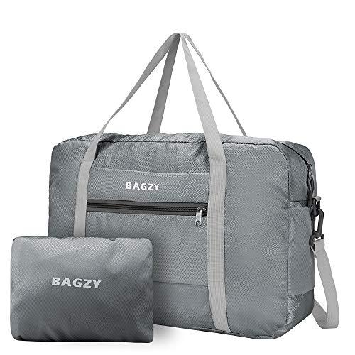 BAGZY Large Foldable Holdall Travel Duffle Hand Luggage Flight Shopping Overnight Weekend Bag Fitness Sports Women Men Organiser 30L