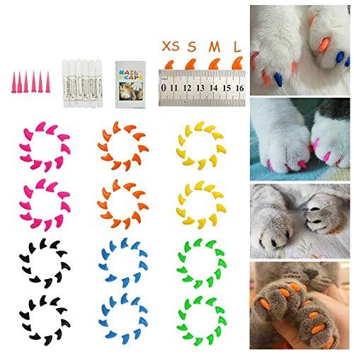 Small dimple Cat Nail Caps 20Pcs Weiche Katzentatzen Pflegegreifer Kontrollabdeckungen mit Selbstklebendem Kleber