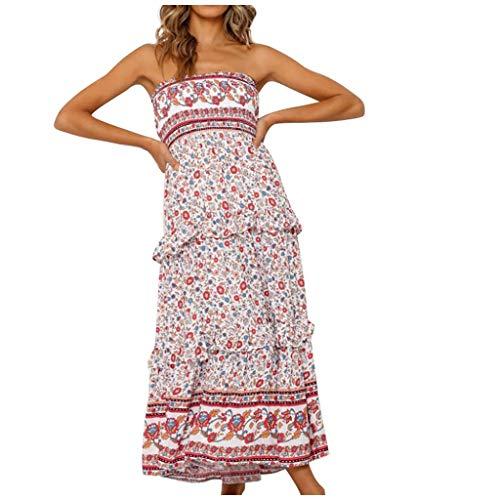 WGNNAA Damen Boho Kleid Strandkleid Bohemian Lang Kleid Sommer Urlaubskleid Schulterfreies Maxikleid mit Rüschen Blumenmuster Eingewickeltes Brustkleid