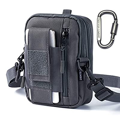 """Lightbare Tactical Molle Pouch Multipurpose EDC Waist Bag Pack, Outdoor Men Compact Gadget Utility Belt with Cell Phone Holster Holder (New - Grey 7.08"""" (H) x 5.12"""" (L) x 1.97"""" (W)) from Lightbare"""