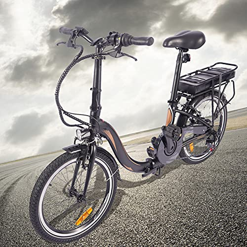 Bici electrica Plegable 250W Motor Sin Escobillas Bicicleta Eléctrica Urbana Cuadro Plegable de aleación de Aluminio Batería de 45 a 55 km de autonomía ultralarga Adultos Unisex