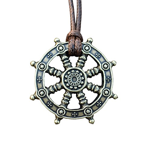 Dharma Wheel of Life Samsara Buddhist Amulet Pendant Talisman (bronze)