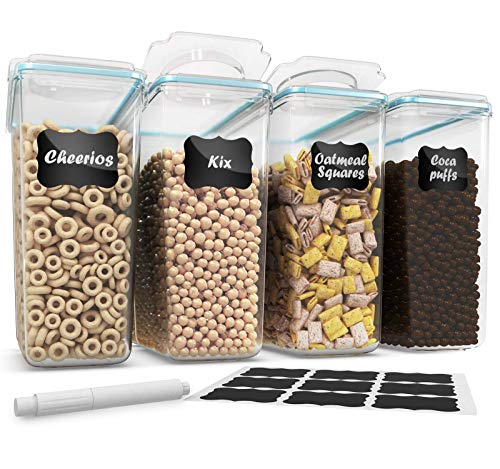 Cereal Container Storage Set - 100% Airtight Food Storage Containers, 18 Labels and Pen, Great for Flour - BPA Free Dispenser Keepers (135.2oz) 4PC - Shazo