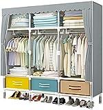 Armari Portable Cloth for Dormitorio, Prueba Cloth Empotrado Organizador del almacenaje del Estante del gabinete de Humedad de la Ropa Organizador fácil de Montar, 150 x 45 x 170 cm Liuyu.