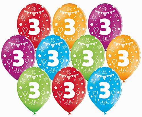 Libetui 10 Bunte Pastel Luftballons Nummer 3 Deko Geburtstag 3 Jahre Party Kindergeburtstag Dekoration Luftballons 3.Geburtstag
