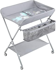 QING MEI Baby Changing Diaper Table Massage Care Table Newborn Baby Changing Clothes Touch Table Multi-function Folding A
