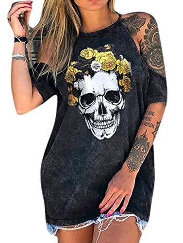 Camisetas con Estampado de Calaveras para Mujer Camisetas de Manga Corta sin Tirantes con Estampado de Calavera de Flores de Moda