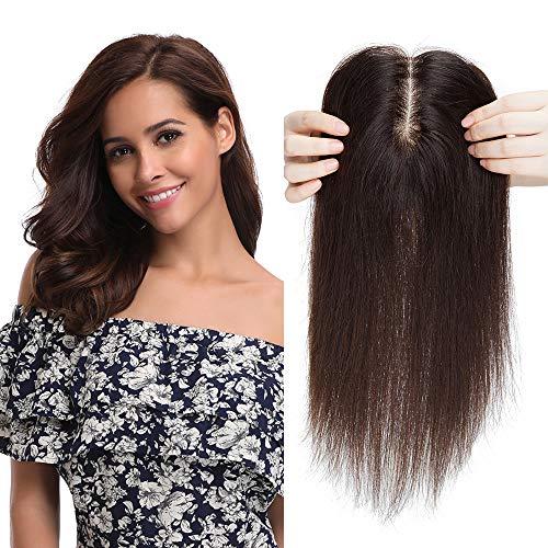 Silk-co Topper Extensions Echthaar Haarteile Echthaar Weich Natürlich Pony Haarverlängerung Toupet Hair Extensions für Frauen 10x12cm Seide Basis 7A Human Hair 30cm 40g Dunkelbraun