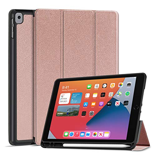 TNP Case for iPad 8th Gen 2020 / iPad 7th 2019 Release - Slim Soft TPU Stand Protective Cover Sleeve with Pencil Holder, Auto Sleep Wake Compatible with iPad 8/7 Generation 10.2 inch (Rose Rold)