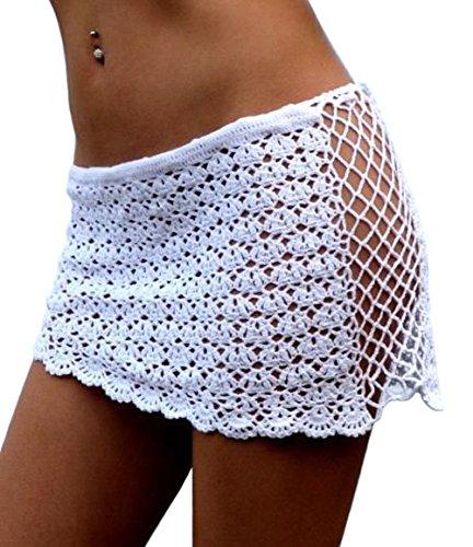 DELEY Frauen Häkeln Netz Aushöhlen Mini Kurzer Rock Bademode Bikini Cover UP Beachwear