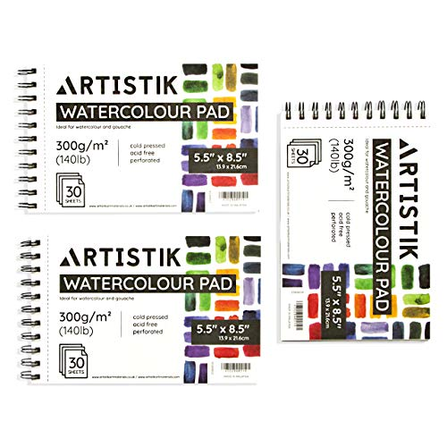 Artistik Premium Watercolor Pad - (Pack of 3) 5.5' x 8.5', (140lb/300gsm) 90 Total Sheets - 30 Sheets per Sketch Pad, Spiral Bound Sketchbook with Acid-Free Cold Pressed Paper for Wet and Dry Media