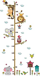 LIOOBO Gráfico de Crecimiento en Pared Pegatina de Animales Elefante León Tabla de Altura para Niños