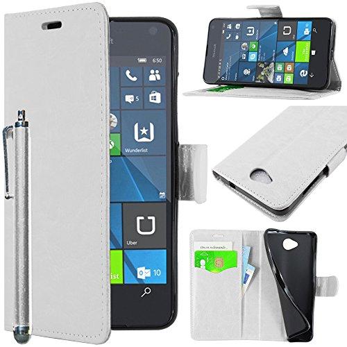 ebestStar - kompatibel mit Microsoft Lumia 650 Hülle Kunstleder Wallet Hülle Handyhülle [PU Leder], Kartenfächern, Standfunktion + Stift, Weiss [Lumia 650: 142 x 70.9 x 6.9mm, 5.0'']