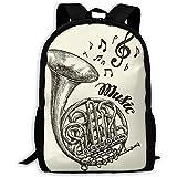 wobuzhidaoshamingzi Mochila Escolar Musical French Horn Sketch Vintage Bookbag Casual Travel Bag...