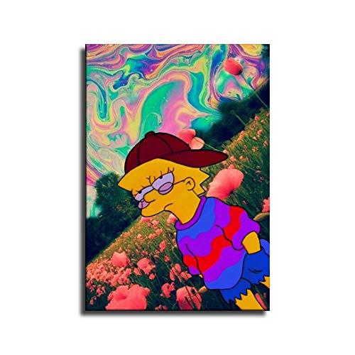 Trippy Lisa Simpson Hippie - Pster de lienzo y arte de pared, diseo moderno