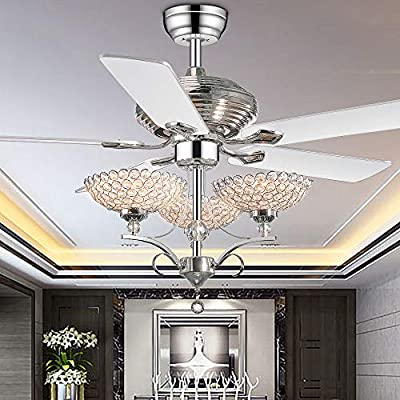 RS Lighting 52 inch Crystal Ceiling Fan Chandelier Fandelier With Sparkle and Shine Lights 5 Blades Chrome Pull Chain Home Decoration Modern for Living Room Bedroom