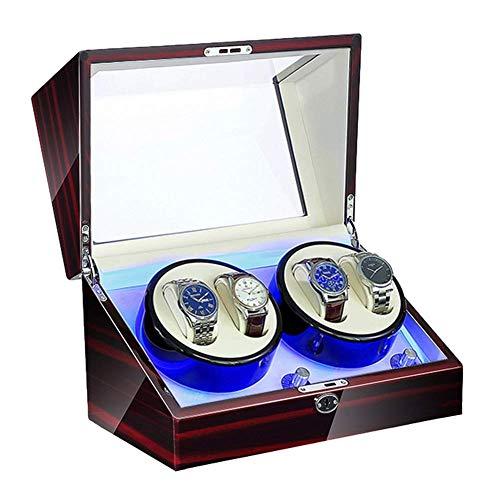 XLAHD Enrollador de Reloj automático, enrollador de Reloj para 4 Relojes automático con iluminación LED Pintura de Piano Exterior Motor súper silencioso Adaptador de CA y Alimentado por batería