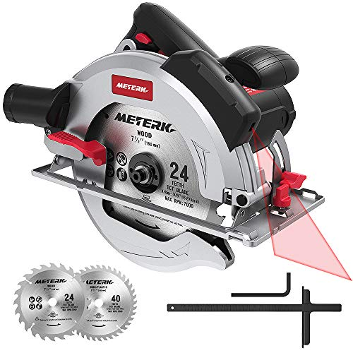 Meterk 1800w Circular Saw 15Amp 7-1/2' Circular Saw with Laser Guide, 4700RPM with 2 Pcs Cutting Blades 24T+40T plus 1 Hex Wrench, Max Cutting Depth 67mm (90°) and 45mm (45°)