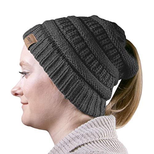 Preisvergleich Produktbild cosey - Strick Wintermütze Pferdeschwanz-Mütze mit Zopfloch für Damen und Mädchen in schwarz