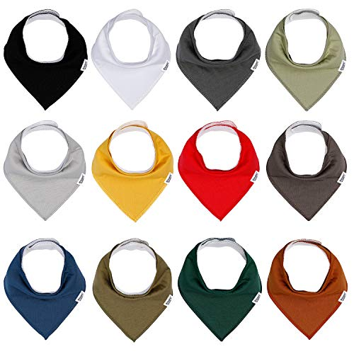 Baby Bandana Drool Bibs for Boys and Girls, Solid Colors,12 Pack Baby Bibs for Teething and Drooling, Organic Cotton Bibs