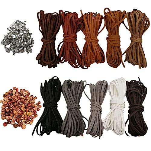 10 Rollos Cordón de Ante Cuerda de Cuero 3mm×5m 100 Cierres y...