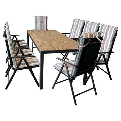 Wohaga Gartenmöbel Set - 8X Gartenstuhl, 7-Fach verstellbare Lehne, klappbar + 8X Sitzauflage + Gartentisch, 205x90cm, Polywood-Tischplatte, braun