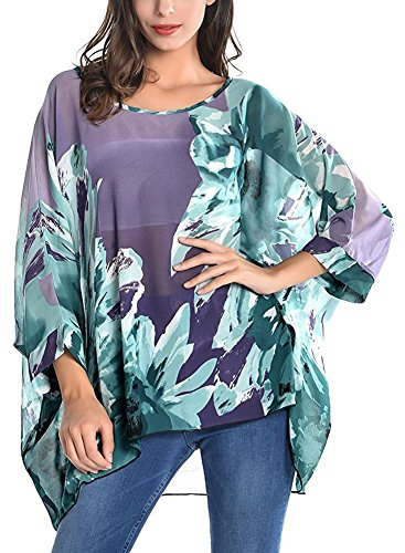 Wiwish Damen Bohemian-Stil Sommer Strand Lagenlook Top Kimono Lose Wasserfall Chiffon Kaftan Poncho Shirt - Violett - Einheitsgröße