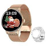 DTNO.I Smartwatch Mujer 1.3'' IPS Pantalla a Color Completa Reloj Inteligente con llamadas Bluetooth Podómetro Monitor Frecuencia Cardíaca Rastreador de Fitness Reloj Deportivo para iOS e Android(Oro)