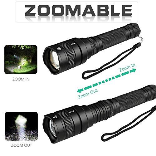 BESTSUN XHP50 Torche Lampe LED Rechargeable, Lampe de Poche led puissante 2500 Lumens Zoomable torche led pour Ménage, le Camping, La Randonnée, D'urgence(Batterie et chargeur inclus)