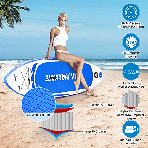"""Product Image 7: MaxKare Stand Up Paddle Board Inflatable SUP W Stand-up Paddle Board Accessories Backpack Paddle Leash Pump Non-Slip Deck ISUP Fishing Yoga Rigid Solid 10'× 30"""" ×6"""" Inches Thick Adult & Youth & Kid"""