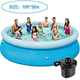 Inflatable Swimming Pools for Kids - 10ft Quick Set Round Swimming Pool Above Ground, Outdoor, Yard, Garden - Easy Set Blow up Pool with Electric Air Pump