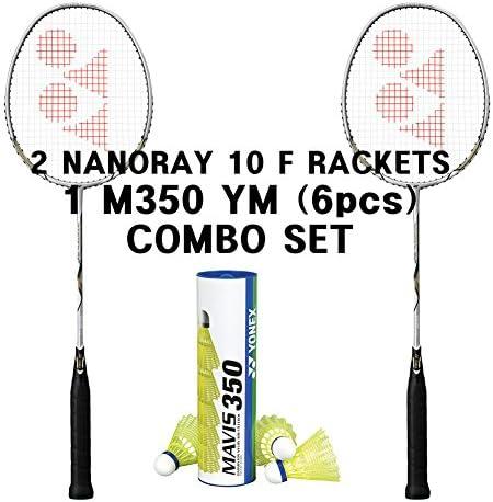 Yonex 2 Nanoray 10 F Rackets 1 tube Mavis 350 Yellow Medium Shuttlecock Combo Set product image