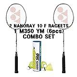 Yonex 2 Nanoray 10 F Rackets 1 tube Mavis 350 Yellow Medium...