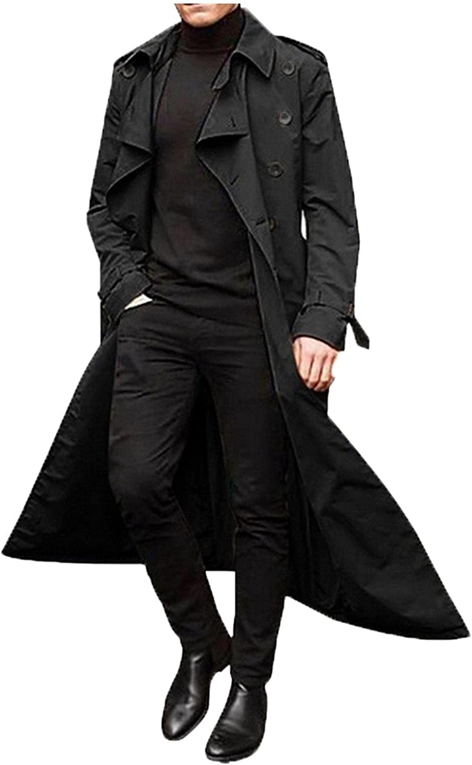 Men's Autumn And Winter Pure Color Long Trench Coat Double Breasted Coats Belt Loose Jacket