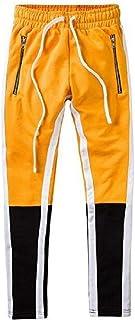 RkBaoye Men Color Block Hip-hop Strappy Mid Waist Silm Fit Running Jogger Bottom Pants