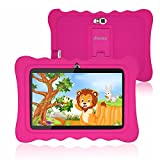 Kids Tablet, 7 Inch Andriod 9.0 Tablet for Kids, 2GB +16GB, Kids Mode Pre-Installed, Educational Apps, Games, Camera and WiFi - Kids-Proof Case Pink