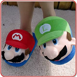 (Adult) Super MARIO & LUIGI Plush Slipper One Size Fits All for Adult Feet up to 11""