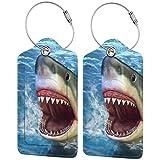 Juego de etiquetas de equipaje de lujo de cuero personalizado con tiburón 3D