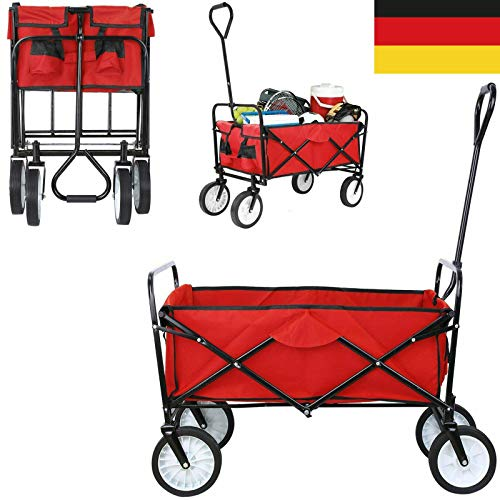 Autofather Bollerwagen Faltbarer Klappbar Handwagen Transportwagen Vollgummi-Reifen, Einfach zu Falten und zu lagern, bis 100 kg Tragkraft, Rot