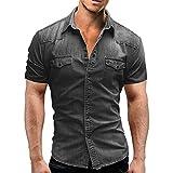 Jinyuan Camisa De Hombre De Moda Camisa De Mezclilla con BotóN Delgado para Hombre Casual Camisa De Manga Corta para Hombre con Bolsillos Gris Claro XL