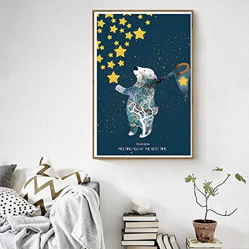 Poster Tier Leinwand Malerei Wohnzimmer Dekoration Ölgemälde Wandkunst Bild Eisbär Fang Sterne Rahmenlos 30x45cm