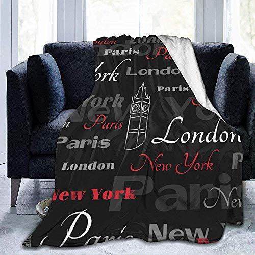 Groefod Red Tower Paris City Nueva York Viaje Londres Patrón Manta Ultra Suave Manta de Cama Ligera Manta de sofá para Hombres Mujeres Niños