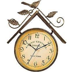 Outdoor Garden Wall Clock, Large Retro Rural Bird House Design Garden Clock Wrought Iron Waterproof Outdoor Clock Indoor Outdoor Decoration Outside Clock Quartz Wall Clock 41cm