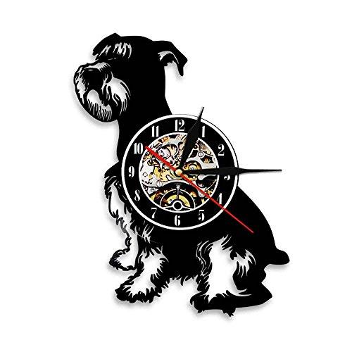 Usmnxo Perro Schnauzer Reloj de Pared con Disco de Vinilo Vintage Reloj Reloj de Tiempo Animal Mascota Cachorro decoración del hogar con luz LED 12 Pulgadas (30 cm)